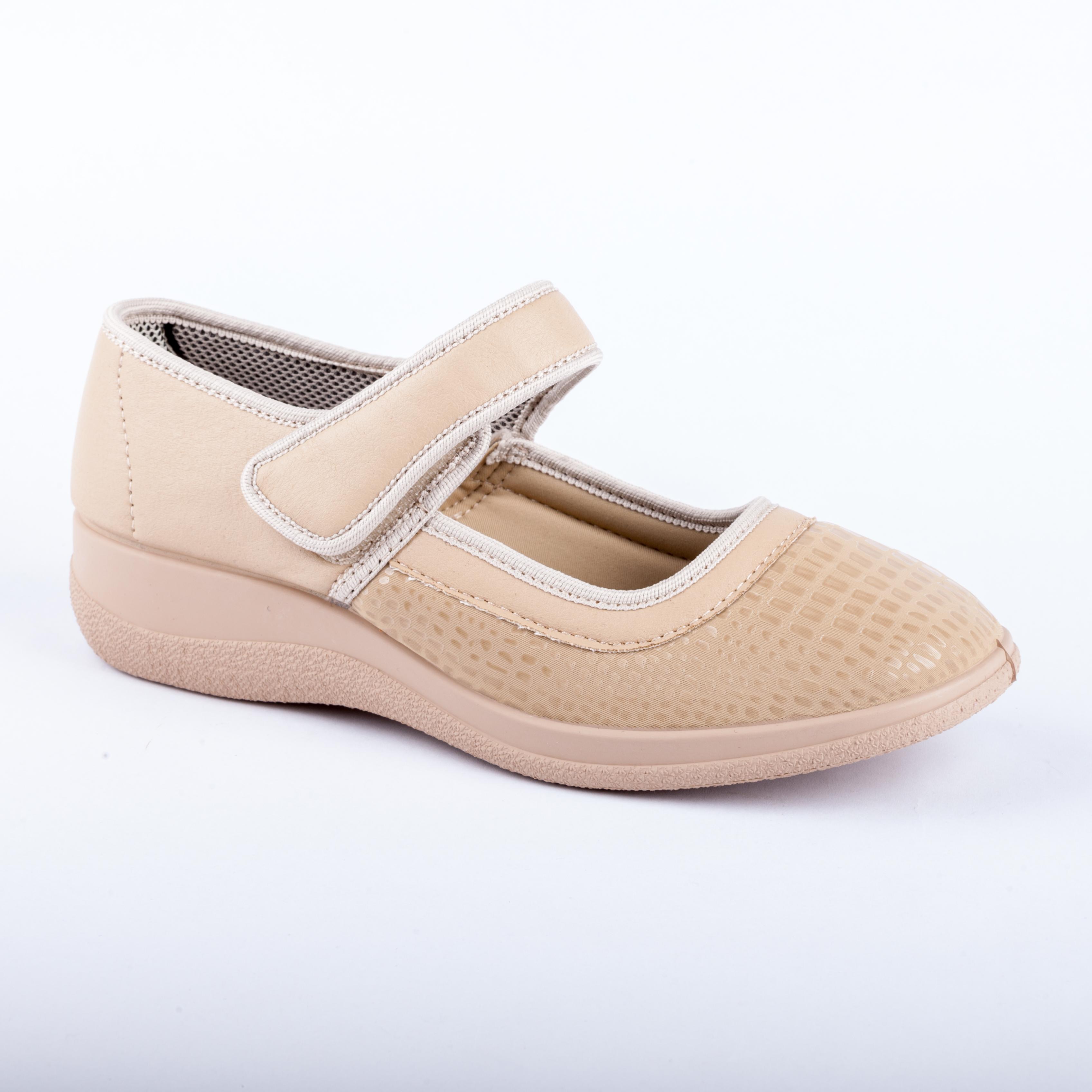 Béžová textilní bota s páskem 7100088